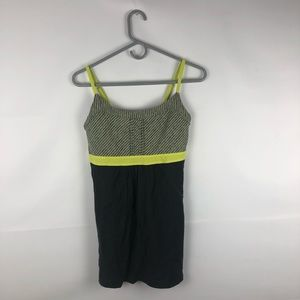 Lucy Black and Yellow Striped Workout Tank Top
